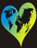 World in Heart. World in Blue Heart. Vector illustration Royalty Free Stock Photos