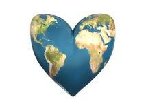 World heart. 3d illustration of heart shaped earth Stock Image