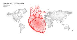 World heart attack day awareness. Health medicine poster template. red polygonal heart on world map global healthcare. Cardiology vector illustration art stock illustration