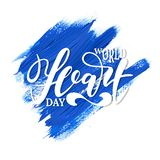 World Heart Day background with hand drawn lettering. Simple creative design for holiday banner, poster, logo, emblem. stock illustration