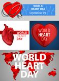 World heart day banner set, cartoon style royalty free illustration