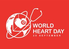 World heart day banner with white heart in 3D world sign and stethoscope on red background vector design Stock Photography