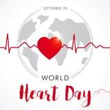 World Heart Day card, heart and cardio pulse trace on globe Stock Photography
