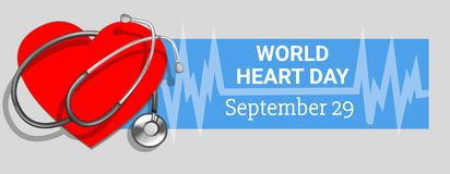 World heart day concept banner, cartoon style vector illustration