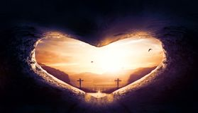 World Heart Day Concept: Heart-shaped empty grave of Jesus Christ stock photos