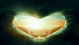 World Heart Day Concept: Heart-shaped empty grave of Jesus Christ royalty free stock photography