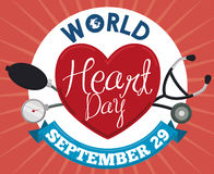World Heart Day Design with Medical Tools in Flat Style, Vector Illustration Royalty Free Stock Image