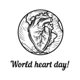 World heart day holiday concept background, hand drawn style stock illustration