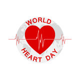 World Heart Day illustration. Vector background. World Heart Day background with heart, heartbeat and Earth. Vector illustration Royalty Free Stock Image
