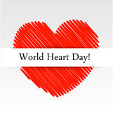 World Heart Day with a scribbled red heart Stock Photography