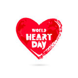 World Heart Day. 29 September. Vector illustration on white background. Excellent holiday gift card. Lettering. Big red heart Royalty Free Stock Image