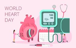 World Heart Day vector concept in 28 September stock illustration