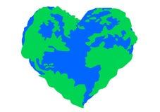 World in heart shape Royalty Free Stock Photos