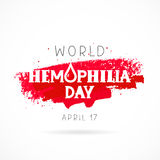 World Hemophilia Day. 17 April. Lettering. Vector illustration on white background with a smear of red ink. Great holiday gift card. Health concept Stock Photo