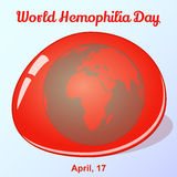 World Hemophilia Day background with globe in blood drop. Vector illustration for you design, card, banner, poster. Calendar or placard template in simple Stock Photography