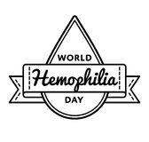 World Hemophilia day greeting emblem. World Hemophilia day emblem isolated vector illustration on white background. 17 april world healthcare holiday event label Stock Photography