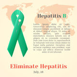 World Hepatitis Day. Colorful awareness ribbons  over world map in cartoon style. Vector illustration. Holiday Royalty Free Stock Photography