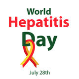 World Hepatitis Day. July 28th. Liver. Red yellow ribbon. Hepatitis C virus. Infographics. Vector illustration. On isolated background Royalty Free Stock Images