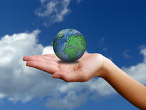 The world in her hand Royalty Free Stock Images