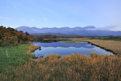 world heritage JP mountains reflect on the lake Royalty Free Stock Photography