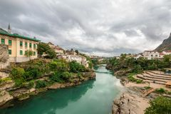 The World Heritage Site Old Bridge Of Mostar City Royalty Free Stock Photography