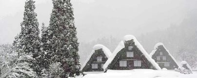 World Heritage Site Shirakawago village and Winter Illumination stock photography