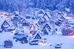 World Heritage Site Shirakawago village. And Winter Illumination Stock Photography