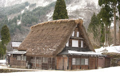 World-heritage site, thatched-roof house, Japan. A Japanese old-style thatched-roof house, Ainokura World Heritage Site, Japan Stock Photos