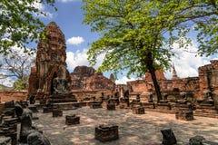 World Heritage Site at Wat Mahathat Ayutthaya, Thailand Stock Photo