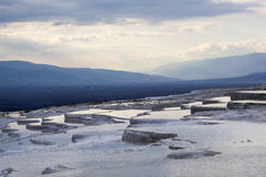 World Heritage. The view of Pamukkale's terraces full of mineral warm water, the famous World Heritage site in Turkey Stock Images