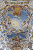 World heritage wall and ceiling frescoes of wieskirche church in bavaria Royalty Free Stock Photography