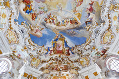 World heritage wall and ceiling frescoes of wieskirche church in bavaria Stock Image