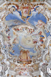 World heritage wall and ceiling frescoes of wieskirche church in bavaria Royalty Free Stock Photos
