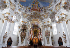 World heritage wall and ceiling frescoes of wieskirche church in bavaria, Stock Photography