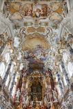 World heritage wall and ceiling frescoes of wieskirche church in bavaria, Royalty Free Stock Photo