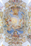 World heritage wall and ceiling frescoes of wieskirche church in Stock Photo