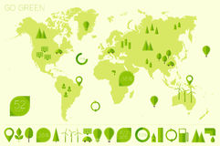 World high detailed map ecology eco icons vector Stock Images