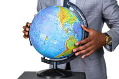 The world in his hands. Stock Photos