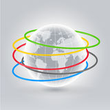 World hola hoops. Earth planet with colorful hoops rolling around it, global sport concept illustration Stock Photography