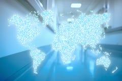 World in hospital corridor Abstract healthcare concept Stock Photo