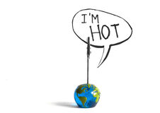 The world is hot. The globe says i´m hot Stock Photo