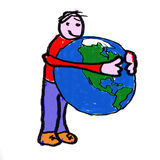 World Hug. A boy holding the globe - a childlike drawing Royalty Free Stock Image