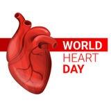 World human heart day concept banner, cartoon style stock illustration