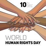 World human rights day concept background, cartoon style stock illustration