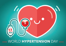 World Hypertension Day, world blood donor day, heart blood Sphygmomanometer, blue band and commemorative, hand, arm Stock Photo