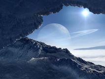 World of Ice. Extraterrestrial scenery of icy world orbiting giant planet with rings Royalty Free Stock Photo