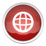 World icon. A large red world icon in three d stock illustration