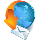 World icon. Mail delivered around the world,vector