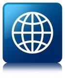 World icon blue square button Stock Photos