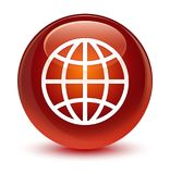 World icon glassy brown round button. World icon  on glassy brown round button abstract illustration Stock Photo